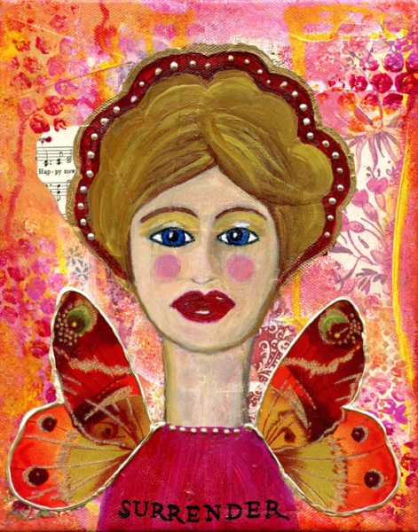 Surrender Angel is an 8x10 mixed medium collage