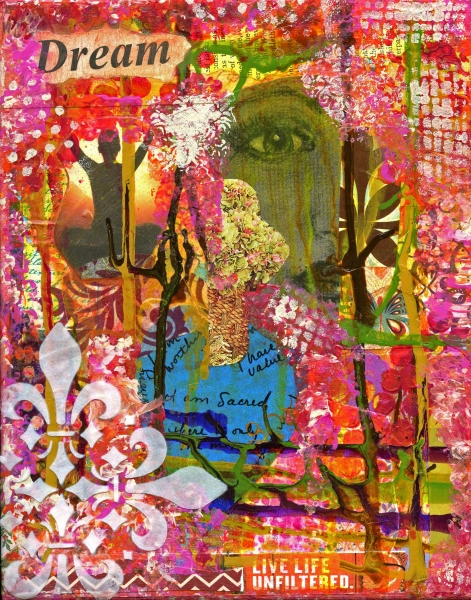 """""""I am Sacred"""" is an 8x10 mixed medium collage"""
