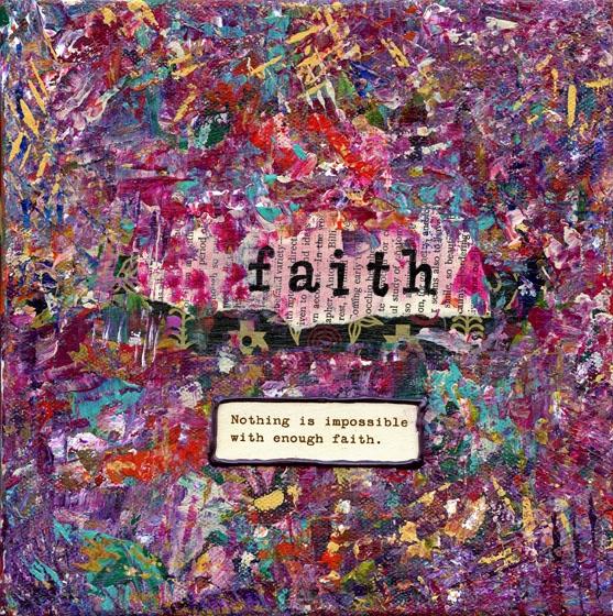 """""""Faith"""" is an 8x8 mixed medium collage using acrylics."""