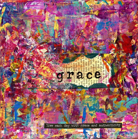 """Grace"" is an 8x8 mixed medium collage using acrylics."