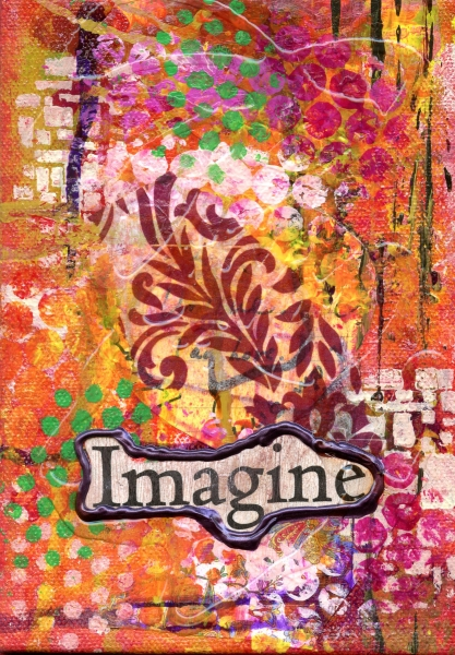 """Imagine"" is a 5x7 mixed medium collage"