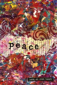 """Peace"" is an 8x8 mixed medium collage using acrylics."