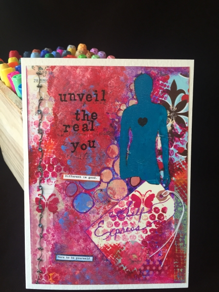 unveil the real you reproduced on a greeting card